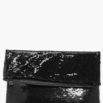 Darcy Fold Over Sequin Clutch Bag | Boohoo