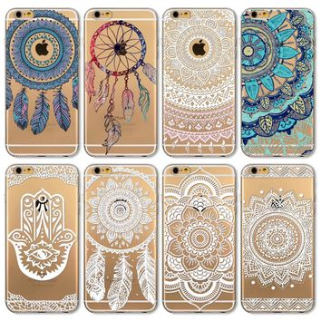 For iPhone 4 4S 5 5S SE 5C 6 6S 6Plus 6s Plus Soft Silicon Clear Henna Paisley Dream Catcher Flower Mandala Cover