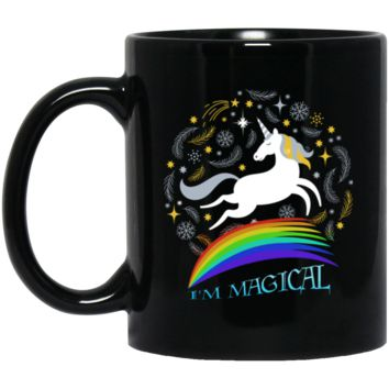 I'm Magical Cute Unicorn BM11OZ 11 oz. Black Mug