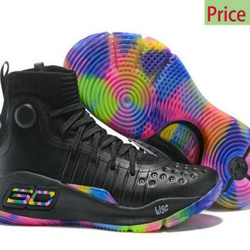 Factory Authentic Latest Style Under Armour Stephen Curry 4 Black Multi Color Mens Basketball Sports Shoes Sneakers sneaker