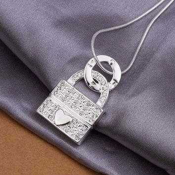 silver plated Chain Heart Lock Necklaces Pendants Men jewelry 351 MP