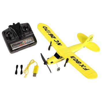 ABWE FX FX803 RC Airplane 2CH 2.4G Aircraft Glider Kid Toys with Transmitter Yellow