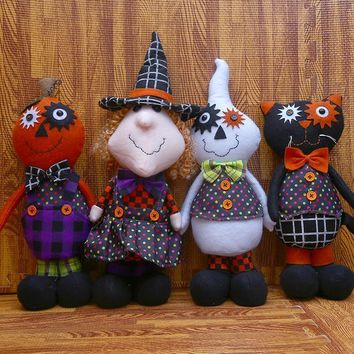 Featival Events Supplies Halloween Decoration Black Cat/Pumpkin/Witch/Ghost Dolls New Year Birthday Halloween Gift Standing Toys