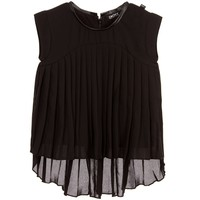 Girls Black Pleated Top
