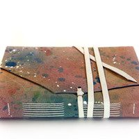 Artist - Leather Journal, Handmade Notebook, Diary - Color Leather Rainbow Tones, Abstract Art Journal with White Blank Paper