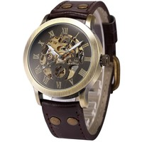 Men's Steampunk Bronze Skeleton Self-Winding Auto Mechanical Leather Wrist Watch