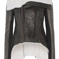 Rick Owens - Leather-trimmed shearling biker jacket