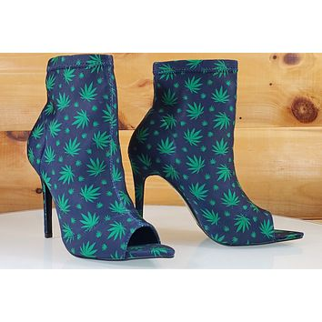 "CR Dara Navy Green Leaf Print Open Pointy Toe Ankle Boot 4"" High Heels"