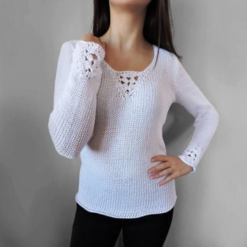 FREE SHIPPING Elegant knit blouse Crochet White blouse White long sleeve blouse Cotton knit top Light summer wear Women blouse Cotton top