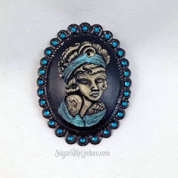 Tattooed Pinup Statement Cameo Brooch
