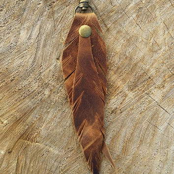 Leather Key Chain / Feather Keyfob / Leather Keyfob / Leather Keychain / Small Key Lanyard / Keyfob