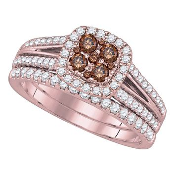 14kt Yellow Gold Womens Round Brown Diamond Bridal Wedding Engagement Ring Band Set 1.00 Cttw