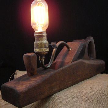 Upcycled Antique Plane Lamp Wooden Plane with by BenclifDesigns