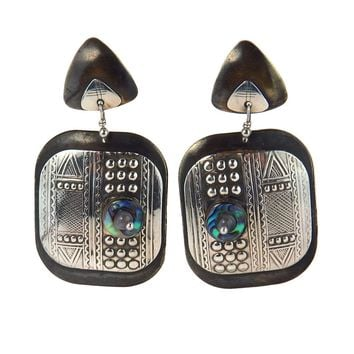 Studio Made Oxidized Brass Sterling Post Modern Earrings, Vintage, 1930s to 1980s
