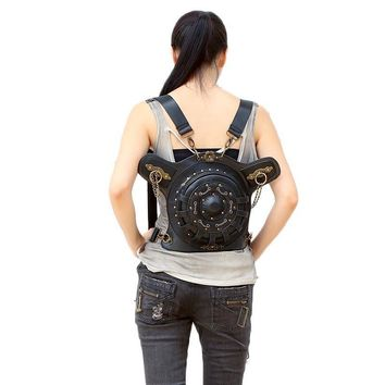 Steampunk Backpack bags  PU Leather Punk Retro Rock Bag Halloween 2017