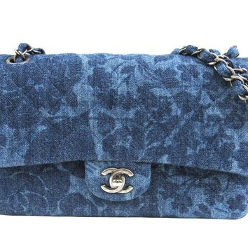 CHANEL Classic Flap Chain Shoulder Bag Quilted Denim Blue