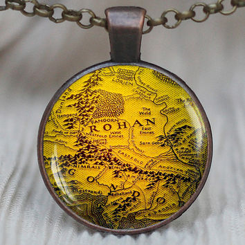 Lord of the rings map necklace, lord of the rings jewelry, Rohan Map Necklace, Tolkien Jewelry, Middle Earth Map, Vintage Map pendant, B_Q16
