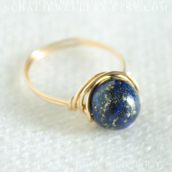 Lapis Lazuli Ring, 14k gold filled ring, wire wrapped ring, handmade jewelry, unique ring, semiprecious gemstone, boho ring