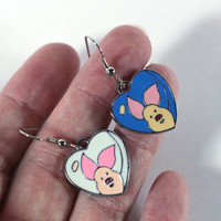 Blue and White Piglet Earrings Mix n Match Mismatched earrings - enamel charm earrings - kids jewelry - womens jewelry - winnie pooh