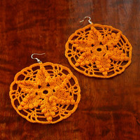 Yellow Star Earrings - Yellow Star Dangle Earrings - Crochet Lace Earrings - Boho Lace Earrings - Crochet Jewelry - Boho Jewelry