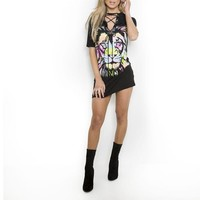 Lion print lace up front distressed tshirt dress