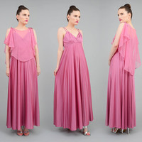 Vintage 70s Pink Maxi Dress Sheer Cape Accordion Pleated Empire Waist Grecian Formal Dress XS S