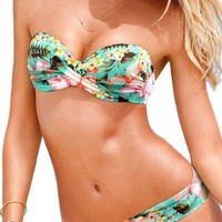 Strapless Floral Printed Sexy Bandage Swimsuit Bikini Set Two pieces