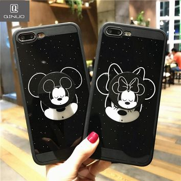 QINUO Luxury Mickey Mini Mouse Cartoon Soft TPU Holder Stand Case For iPhone 6 6s 7 8 X Plus Couple Cute Back cover