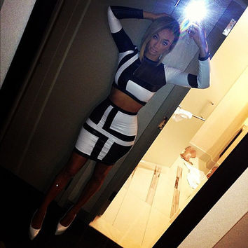 Women fashion Two Piece Draya Black and White Crop Top and Mini Skirt