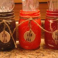 YOUR COLOR CHOICE 3 pint size painted mason jars with wood silverware medallion party decor