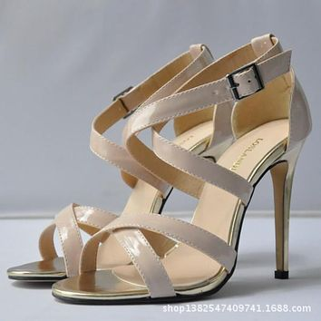 Patent Leather Sexy Cross Buckle Sandals