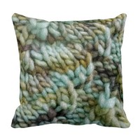 Knitted Art Yarn Crafts Pillow