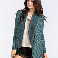 Full Tilt Womens Marled Stripe Cardigan Teal Blue  In Sizes