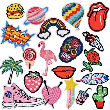 Iron On Patches for Clothing Rose Sugar Skull DIY Embroidery Patch Applique Clothes Sticker Denim Jacket Fix Sewing Accessories