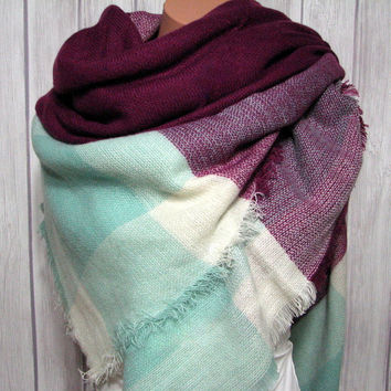 Blanket Scarf, Zara Tartan Inspired, Blue Berry Mint Women's Gifts Oversized Large Unique Winter Scarves