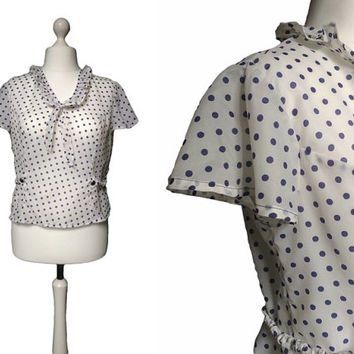1950's Blouse - 50's Polka Dot Blouse - White And Navy Blue - Med Large - Fifties Nylon Vintage Top