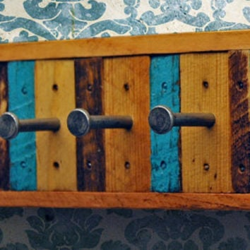 Recycled Wood 4 Hook Key Rack, Jewelry Rack (Made to Order)