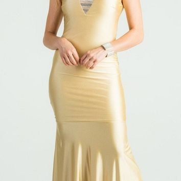 Toffe Trumpet Style V-Neck Long Formal Dress