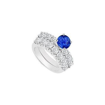 14K White Gold : Sapphire and Diamond Engagement Ring with Wedding Band Set 1.15 CT TGW