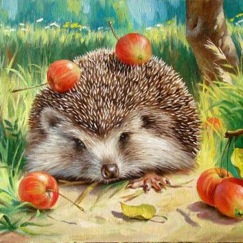 Cute hedgehog painting by numbers quadros home decor wall art decorative pictures for living room diy oil canvas painting OP77