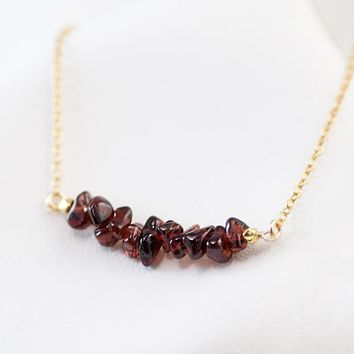 Rough Garnet Bar Necklace, Genuine January Birthstone Necklace, Raw Stone