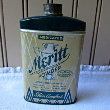 Vintage Medical Tin Apothecary Merrit Powder Antique Over the Counter
