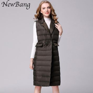 NewBang Brand Women's Long Vest Ultra Light Down Vests Women Female Down Coat Long Sleeveless Turn-down Collar Jacket
