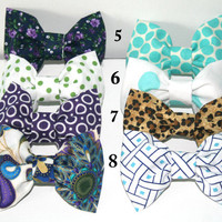 Two for 8 dollar Hair Bows - Any two bows of your choice - Clip on, floral, polka dot , leopard, peacock, purple, tiffany blue, aqua
