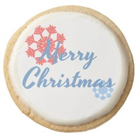 Merry Christmas Round Shortbread Cookie