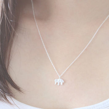 Origami Elephant Necklace, Elephant Necklace, Silver Elephant Necklace, Animal Necklace, Dainty Necklace, Silver Necklace