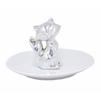 68497 Shiny Ceramic Fox Figurine with Plate - Silver - Benzara