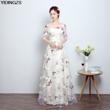 YIDINGZS New Arrive Pink Flowers Butterfly Eveving Dresses 2017 V Neck Half Sleeve Sweet Long Evening Dresses