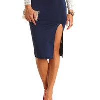 High-Waisted Slit Bodycon Midi Skirt by Charlotte Russe - Navy Blue