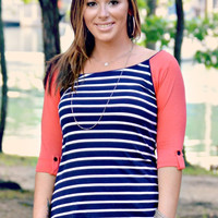 Blue Striped with Coral Sleeve Raglan Top